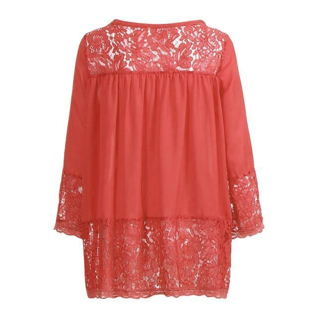 Plus Size 3/4 Sleeve Lace Solid LooseTops Holiday Fall Daily Casual Blouse AmericanGalore Orange S