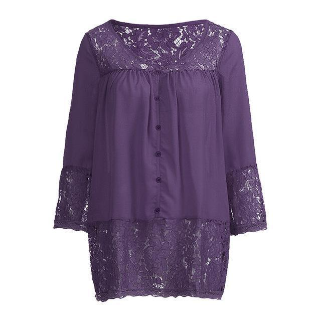 Plus Size 3/4 Sleeve Lace Solid LooseTops Holiday Fall Daily Casual Blouse AmericanGalore Purple S