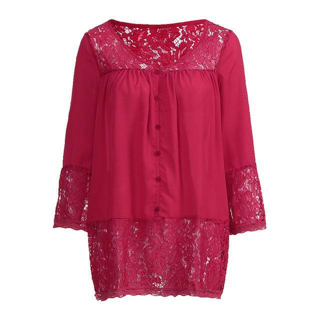 Plus Size 3/4 Sleeve Lace Solid LooseTops Holiday Fall Daily Casual Blouse AmericanGalore Rose Red S