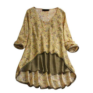 Plus Size Floral Printed Two Piece Suit V Neck Long Sleeve Blouses Tops AmericanGalore Yellow M