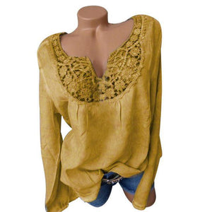 Plus Size Lace Patchwork Long Sleeve Notched Neck Blouses AmericanGalore Yellow S