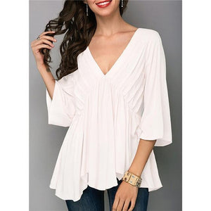 Plus Size Solid Irregular V Neck Casual Women Blouses - AmericanGalore
