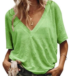 Plus Size Summer V-Neck Short-Sleeved Solid Color Casual T-Shirts Tops - AmericanGalore
