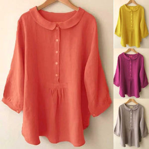 chowquach - Casual Solid Lapel Collar Cropped Sleeve Shirts Tops - AmericanGalore -