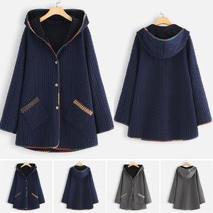 Rhombus Cotton Loose Fall Winter Coat Oversized Shirt &Tops - AmericanGalore