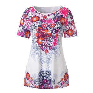 Round Neck Patchwork Floral Printed Short Sleeve T-Shirts - AmericanGalore