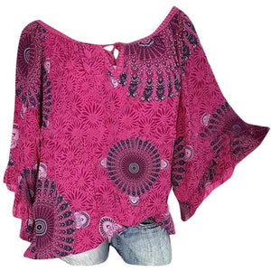 Round Neck Printed Loose Sleeve T-Shirts - AmericanGalore