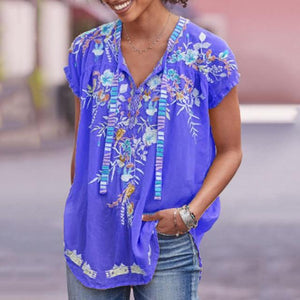 Short Sleeve Casual Cotton-Blend V Neck Shirts & Tops AmericanGalore Blue S