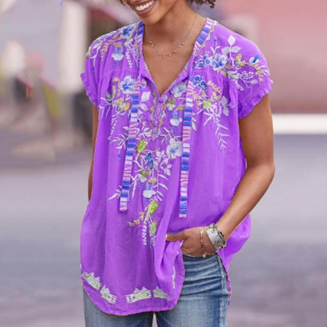 Short Sleeve Casual Cotton-Blend V Neck Shirts & Tops AmericanGalore Purple S