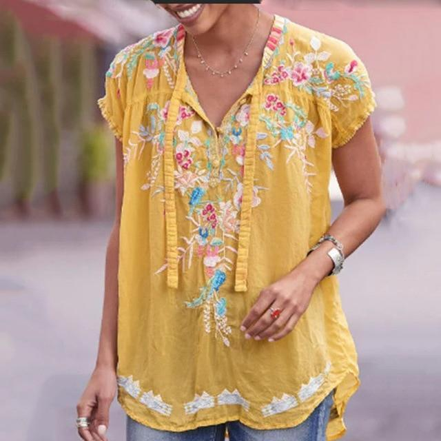 Short Sleeve Casual Cotton-Blend V Neck Shirts & Tops AmericanGalore Yellow S