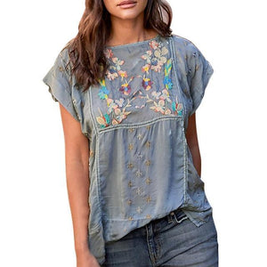 Short Sleeve Casual Crew Neck Floral Printed Shirts Tops AmericanGalore Gray M