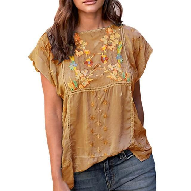 Short Sleeve Casual Crew Neck Floral Printed Shirts Tops AmericanGalore Khaki M