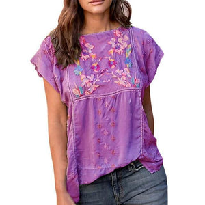 Short Sleeve Casual Crew Neck Floral Printed Shirts Tops AmericanGalore Purple M