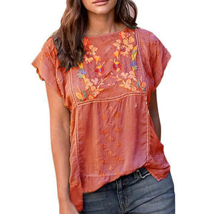 Short Sleeve Casual Crew Neck Floral Printed Shirts Tops AmericanGalore Red M
