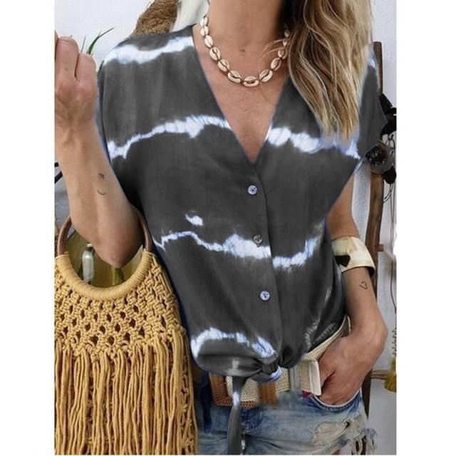 Short Sleeve Printed Women Casual V Neck Holiday Tops AmericanGalore Black S