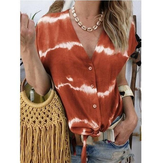 Short Sleeve Printed Women Casual V Neck Holiday Tops AmericanGalore Orange S