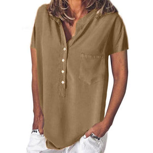 Short Sleeve Women Solid V Collar Loose Tops AmericanGalore Brown S