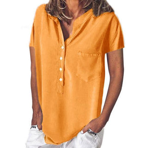 Short Sleeve Women Solid V Collar Loose Tops AmericanGalore Yellow S