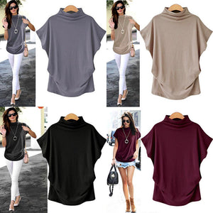 Solid High Neck Loose Short Sleeve Fall Casual Shirts & Tops AmericanGalore