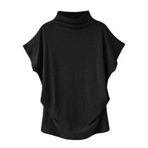 Solid High Neck Loose Short Sleeve Fall Casual Shirts & Tops AmericanGalore Black S