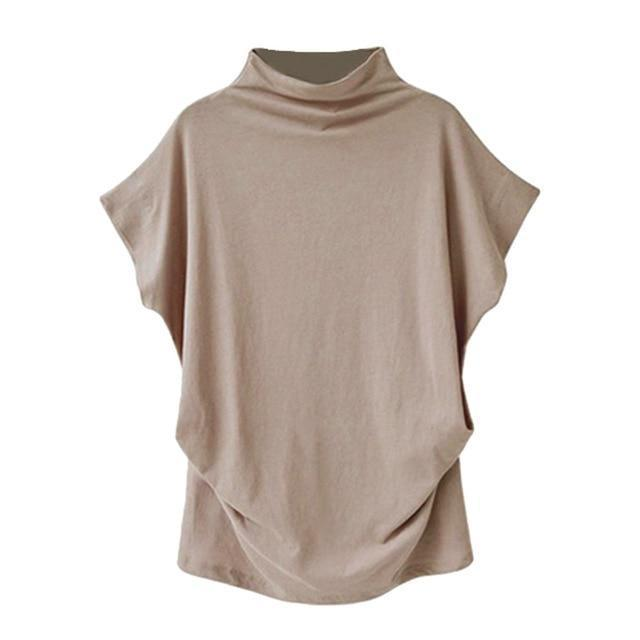 Solid High Neck Loose Short Sleeve Fall Casual Shirts & Tops AmericanGalore Camel S