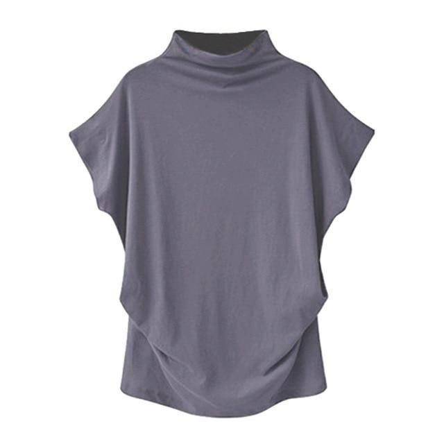 Solid High Neck Loose Short Sleeve Fall Casual Shirts & Tops AmericanGalore Grey S