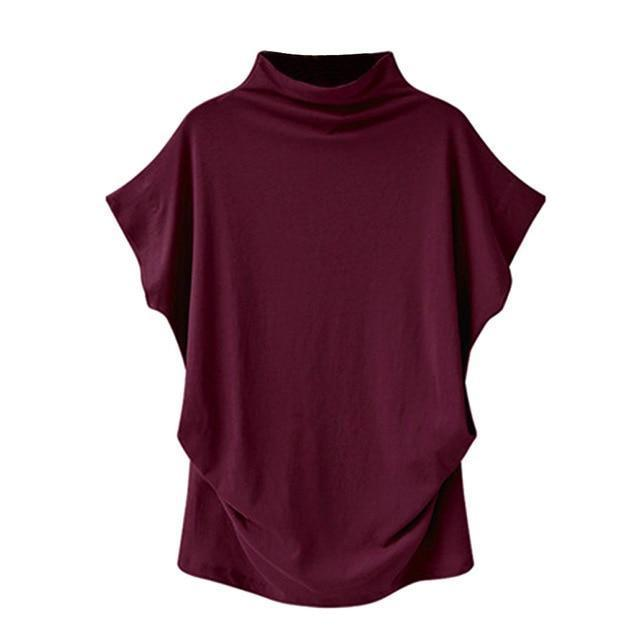 Solid High Neck Loose Short Sleeve Fall Casual Shirts & Tops AmericanGalore Wine Red S