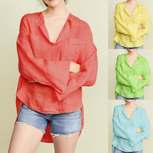 Solid Long Sleeve Casual V Neck Daily Shift Tops AmericanGalore