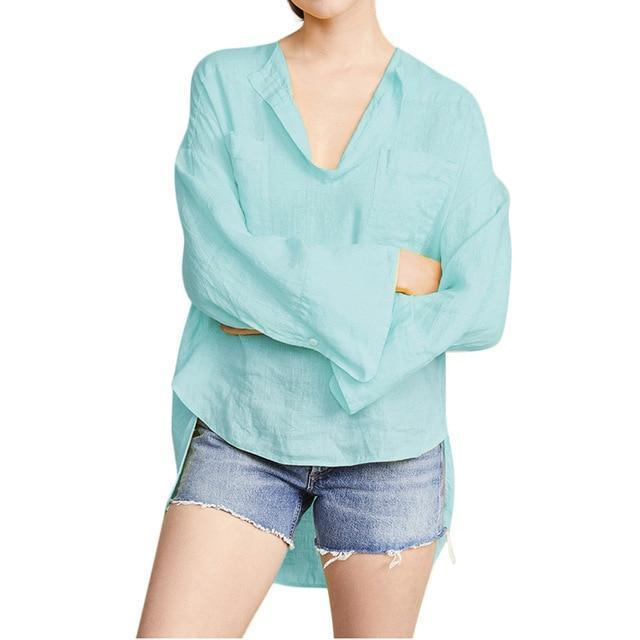 Solid Long Sleeve Casual V Neck Daily Shift Tops AmericanGalore Blue M