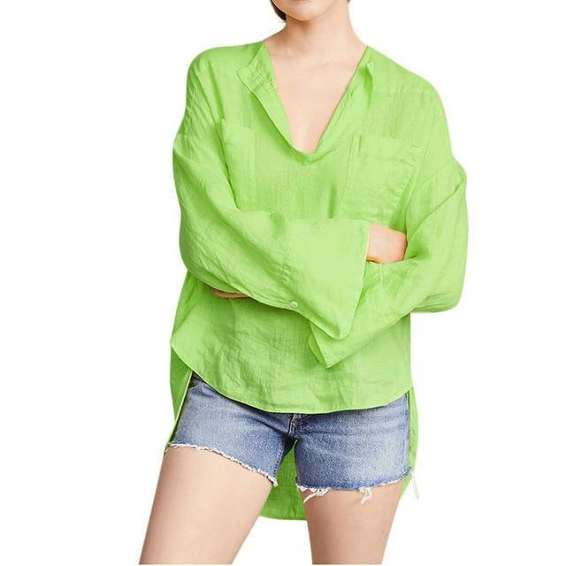 Solid Long Sleeve Casual V Neck Daily Shift Tops AmericanGalore Green M