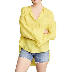 Solid Long Sleeve Casual V Neck Daily Shift Tops AmericanGalore Yellow M