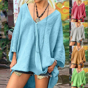 Solid V Neck Longs Linen Loose Long Sleeve Fall Casual Shirts & Tops AmericanGalore
