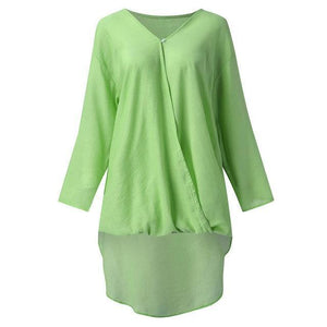 Solid V Neck Longs Linen Loose Long Sleeve Fall Casual Shirts & Tops AmericanGalore Green S