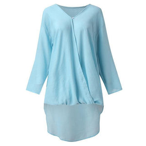Solid V Neck Longs Linen Loose Long Sleeve Fall Casual Shirts & Tops AmericanGalore Sky Blue S