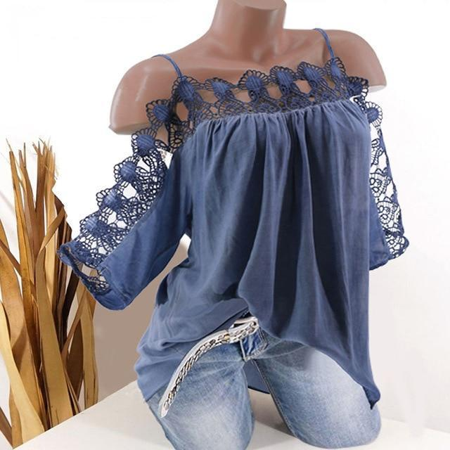Strap Women Lace Edge Summer Casual Tops AmericanGalore Blue S