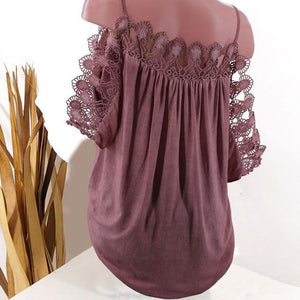 Strap Women Lace Edge Summer Casual Tops AmericanGalore Red S