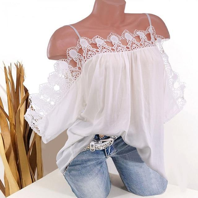 Strap Women Lace Edge Summer Casual Tops AmericanGalore White S