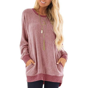 Sweater Pocket Solid Design Casual Round Neck Shirts & Tops AmericanGalore Wine Red S