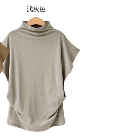 Turtleneck Cotton Solid Color Short Sleeve Tops AmericanGalore Gray S
