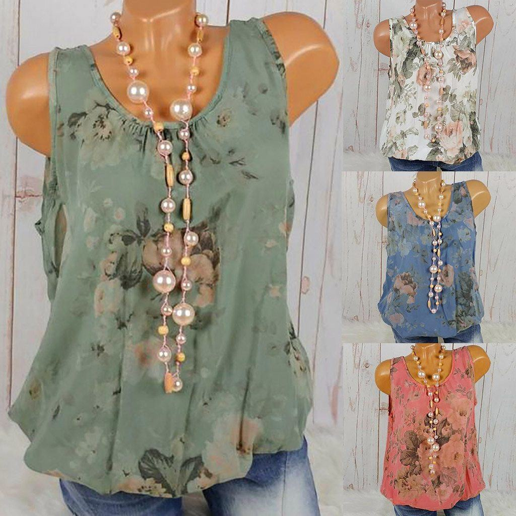 U Neck Floral Casual Printed Women Summer Casual Tops AmericanGalore