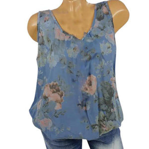 U Neck Floral Casual Printed Women Summer Casual Tops AmericanGalore Blue S