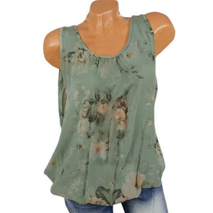 U Neck Floral Casual Printed Women Summer Casual Tops AmericanGalore Green S