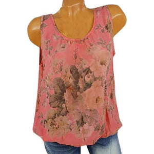 U Neck Floral Casual Printed Women Summer Casual Tops AmericanGalore Pink S