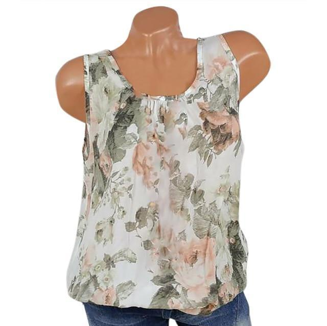 U Neck Floral Casual Printed Women Summer Casual Tops AmericanGalore White S