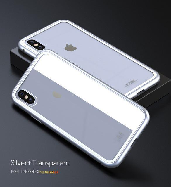 Ultra Slim Magnetic Anti-Shock Case AmericanGalore For iphone 7 Silver Transparent