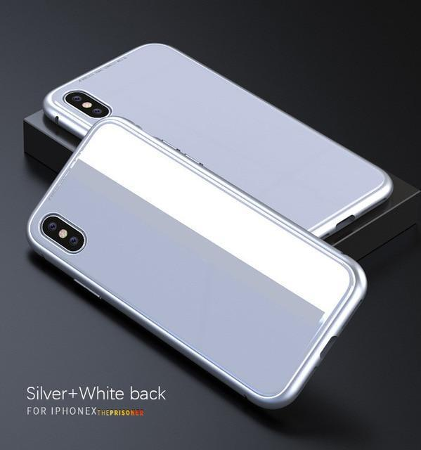 Ultra Slim Magnetic Anti-Shock Case AmericanGalore For iphone 7 Silver White