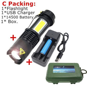 USB Waterproof Flashlight AmericanGalore C Packing
