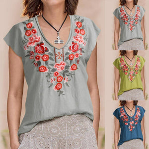 V Neck Rural Casual Holiday Summer Women Daily Tops AmericanGalore