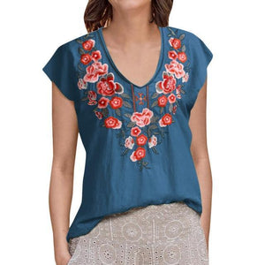 V Neck Rural Casual Holiday Summer Women Daily Tops AmericanGalore Blue S
