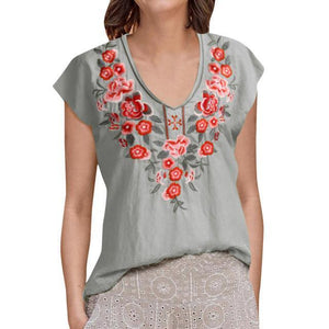 V Neck Rural Casual Holiday Summer Women Daily Tops AmericanGalore Gray S